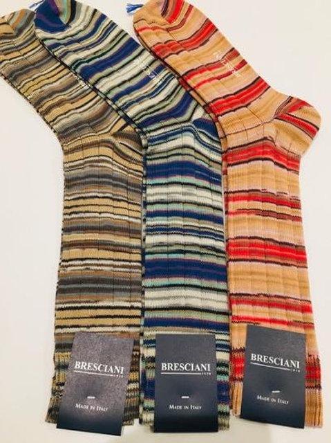 Bresciani Mens Serape Striped Mid Calf Socks