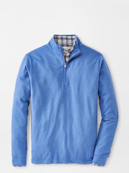 Peter Millar Slub Cotton Blend 1/4 Zip in Dusk Blue