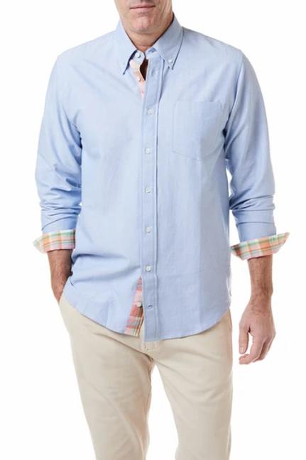 Castaway Chase Shirt Blue Oxford with Baja Madras Trim