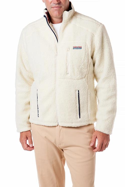 Castaway Sherpa Jacket in Ivory with Black Stewart Plaid Trim
