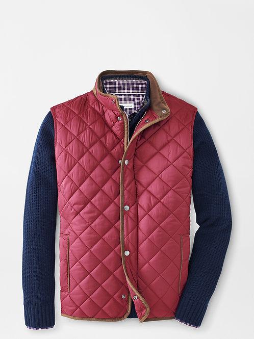 "Peter Millar Essex Quilted Travel Vest-Color ""Currant"""