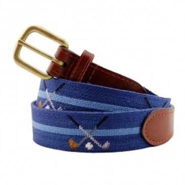 Smathers And Branson Crossed Clubs Needlepoint Belt