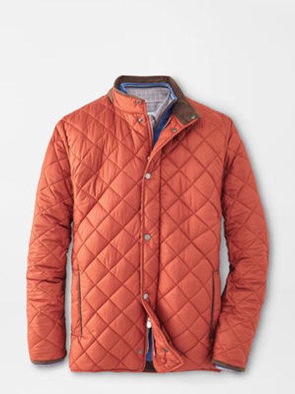 Peter Millar Suffolk Quilted Travel Coat-Burnt Orange