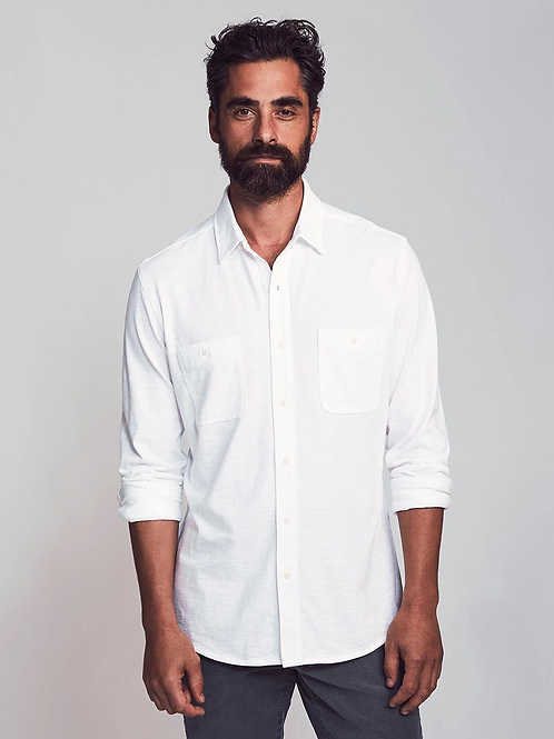 Faherty Brand Knit Seasons Long Sleeve Shirt-White