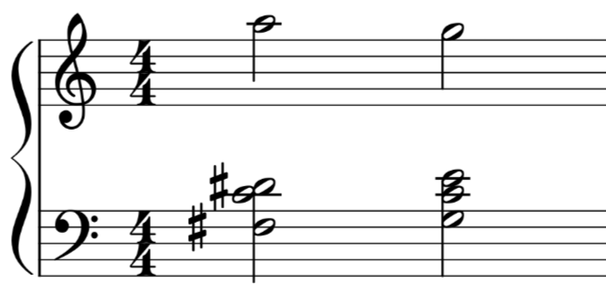 An F sharp diminished 7th showing the resolution to a tonic chord