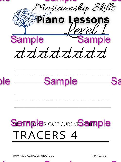 Lower Case Cursive 'd' Tracer