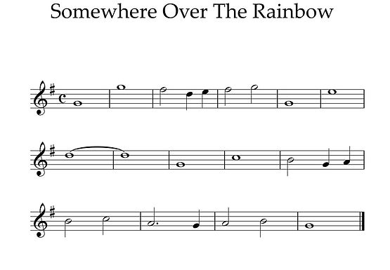 Somewhere Over the Rainbow - Treble Clef