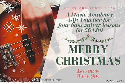 Gift Voucher for 4 Bass Guitar Lessons