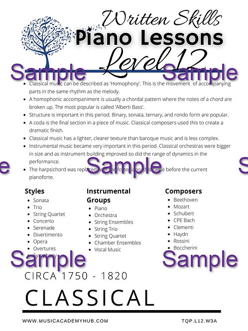 The Classical Worksheet 1