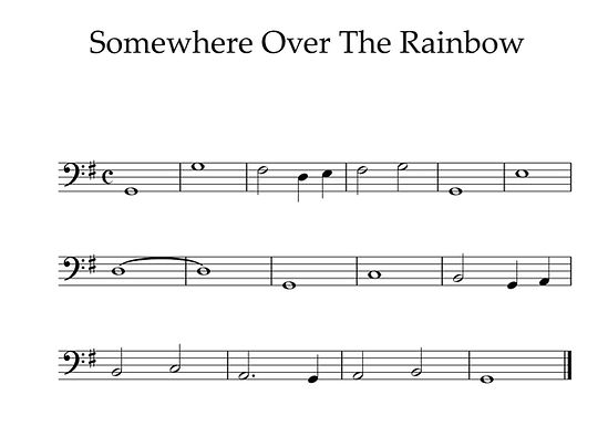 Somewhere Over the Rainbow - Bass Clef