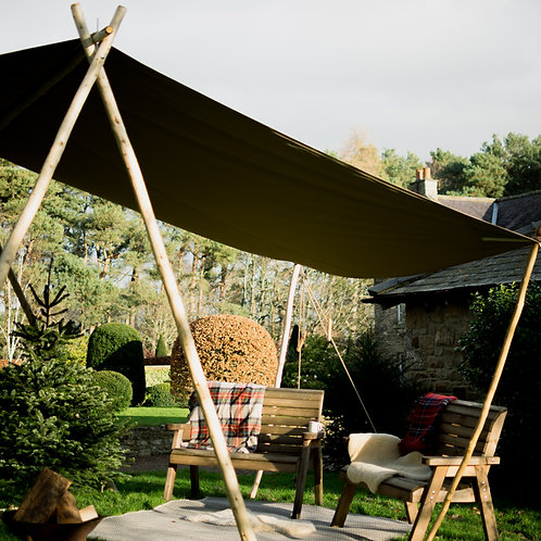 Woodsman's Awning with Olive Green Canvas