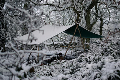 Canvas Woodsman's Awning in the snow