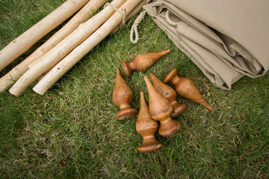 Hand-turned wooden finials