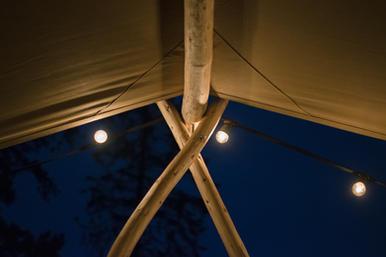 Woodsman's Awning cruck poles