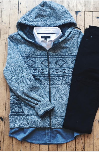 Printed Sweater Fleece Hoodie