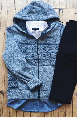 Printed Sweater Fleece Hoodie