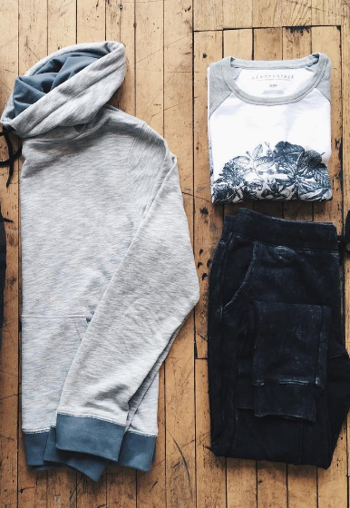 Textured Funnel & Acid Wash Joggers
