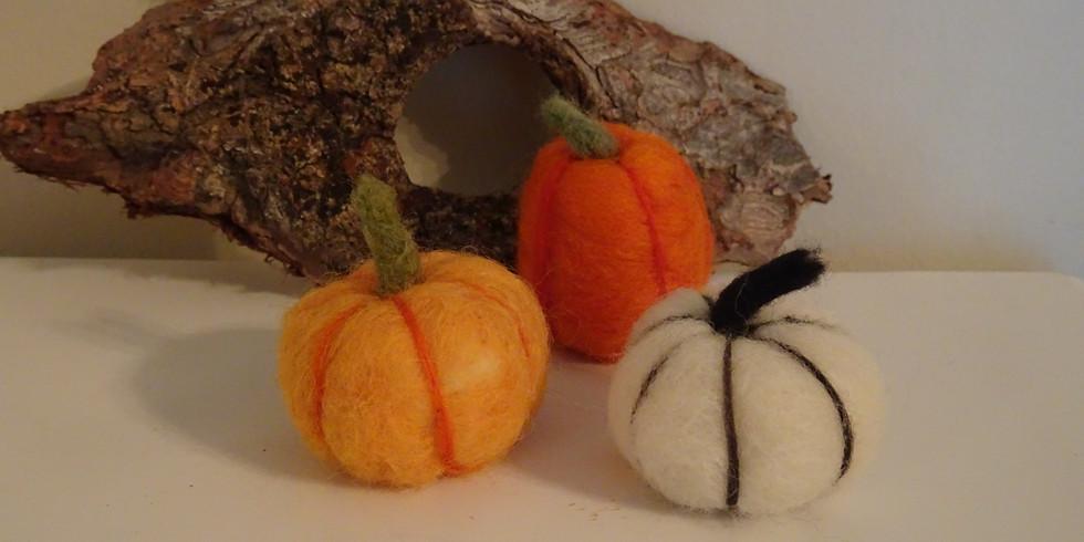 Needle Felted Pumpkins and Acorns