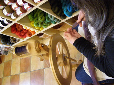 handspinning in the shop