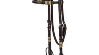 Turquoise Cross Rawhide Accented Browband Headstall