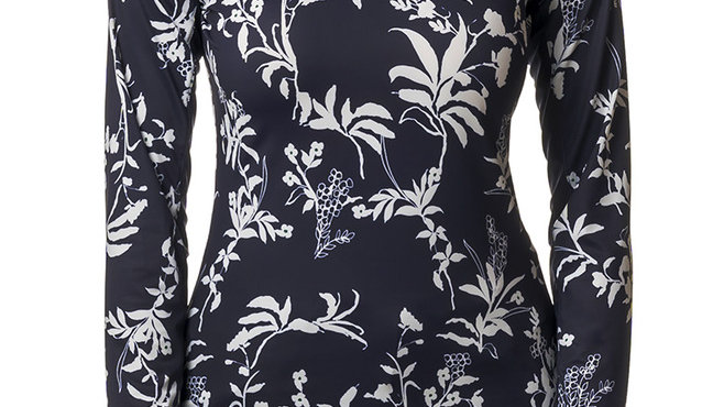 Navy and White All -Over Floral Print