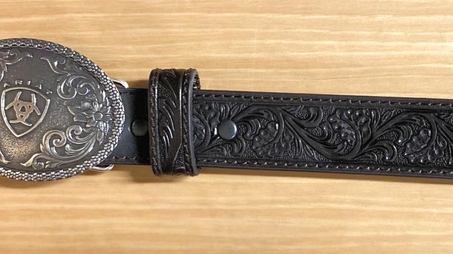 Black Ariat Belt Round Buckle