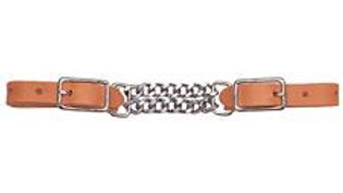 """Harness Leather 3-1/2"""" Double Flat Link Chain Curb Strap"""