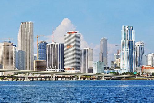 """Miami Day Skyline on Canvas 62""""x17"""""""