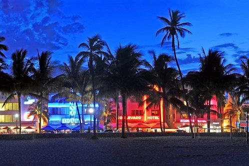"""Miami Beach Ocean Drive on Canvas 62""""x17"""""""
