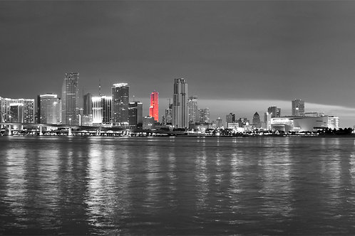 "Miami Night Skyline B/W canvas 62""x17"""