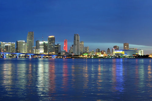 "Miami Night Skyline on Canvas 62""x17"""
