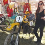 40 Years of Women's MX, fan with bike, motorcycle