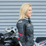 Heather Bonomo, Dainese Racing Pelle Jacket, AGV Motorcycle Helmet, Kawasaki Ninja