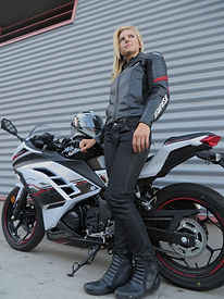 Heather Bonomo, Dainese Racing Pelle Jacket, AGV Motorcycle Helmet, Dainese D19 Denim Motorcycle Jeans, Dainese Shoes Garde S-RS,  Kawasaki Ninja