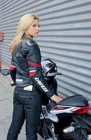Heather Bonomo, Dainese Racing Pelle Jacket, AGV Motorcycle Helmet, Dainese D19 Denim Motorcycle Jeans, Kawasaki Ninja