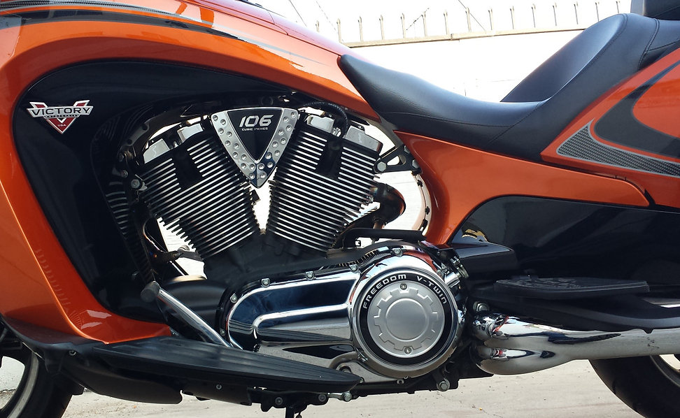 Victory Vision Freedom V-Twin motor close up