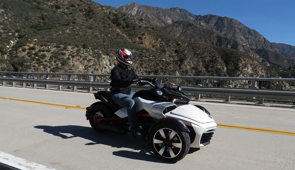 Matt Hansen riding Can Am Spyder F3 on California Highway