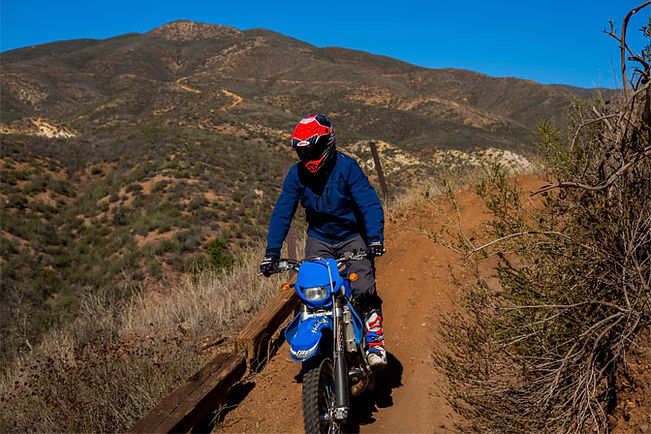 Matt Hansen, Aether motorcycle jacket and pants, Tech 10 Astars boots, California hills