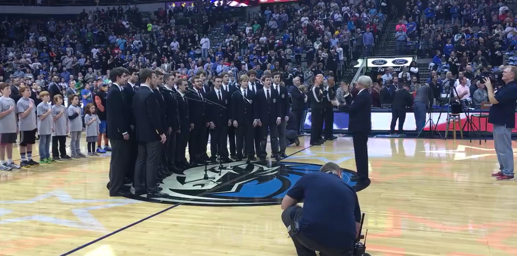 Wheaton College Men's Glee Club Sings National Anthem at Dallas Mavericks Game