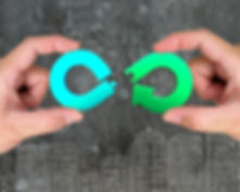 Circular economy concept. Two hands asse