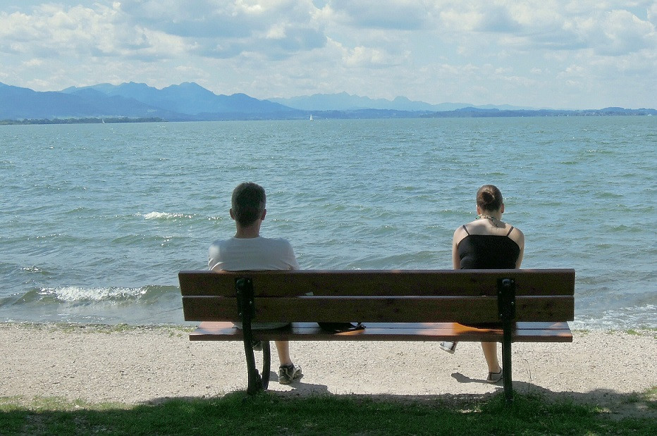 2 people on a bench