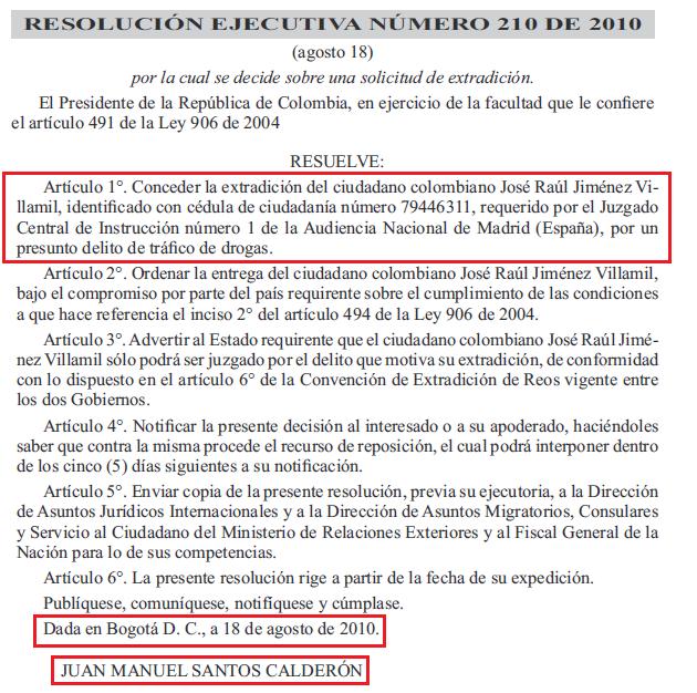 resolucion ejecutiva de Juan Manuel Sant