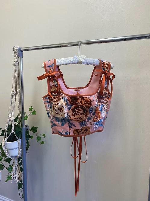 Maeve Corset in Floral Mesh/Velvet
