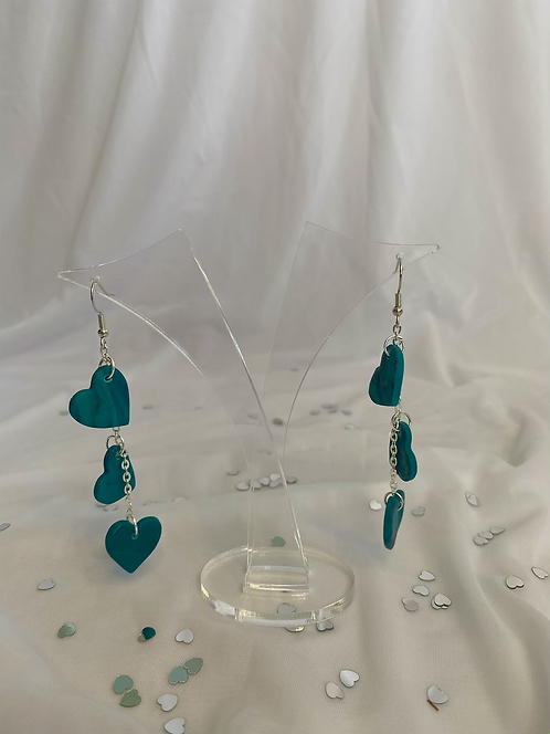 Heart drop earring in teal- Sample
