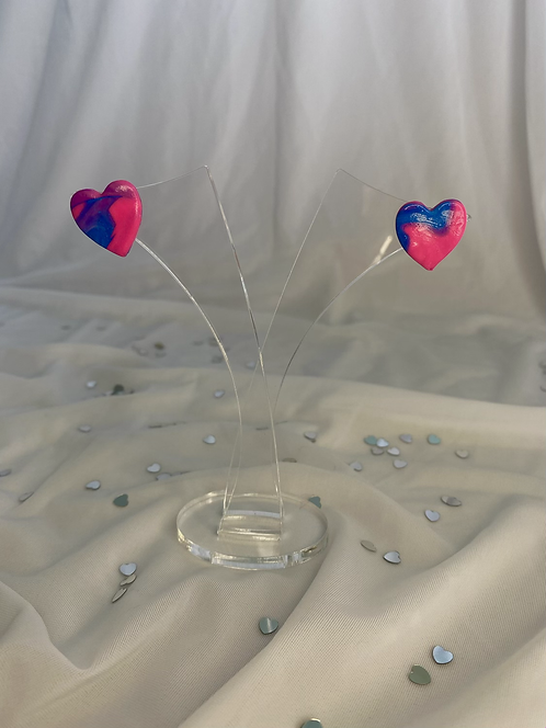 Pink and blue heart stud