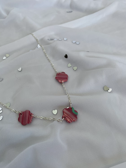 Tansy Necklace in Raspberry and Mint
