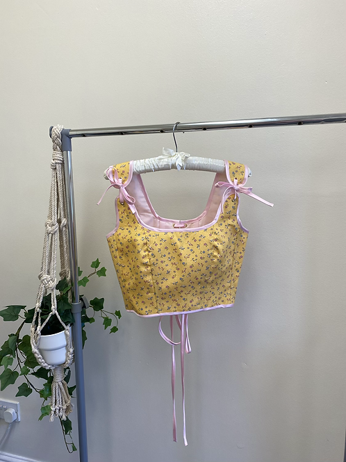 Maeve Corset in Yellow Floral Cotton