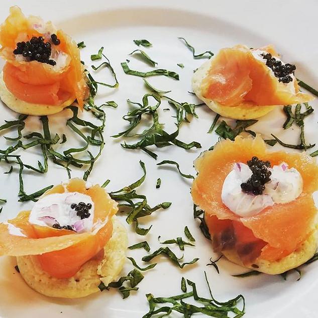 Smoked Slamon Bellini with Osetra Caviar