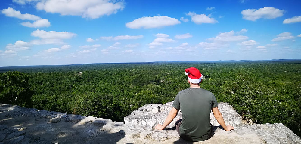 Calakmul view over mayan jungle in Mexixo