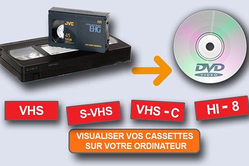 Cassette VHS/V8/mini DV à numériser sur DVD